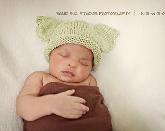 Yoda Hat, Knit Cotton Baby Hat great photo prop