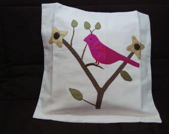 Ecru cotton Cushion cover with silk application bird motif