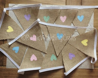 Hessian Bunting With Pastel Hearts x 5 Metres (Approximately 20 flags) For Rustic, Vintage, Shabby Chic Weddings