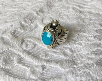Vintage Sterling 'Taxco' Mexico Turquoise Poison Ring Sz. 7.5 Signed-  7.3g.