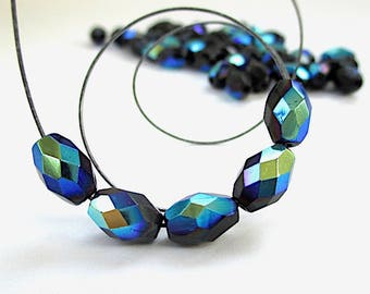 Jet Black Beads, 10mm Faceted Barrel Beads, Fire Polished Glass, Iridescent Beads, Rainbow Colors Blue Turquoise Purple - 23 Pieces SP697