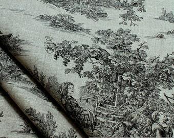 Fabric pure linen nature Toile de Jouy black classic