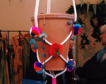 Hanging planter / Pom pom hanging plant holder / Cotton cord + Handmade Pom poms
