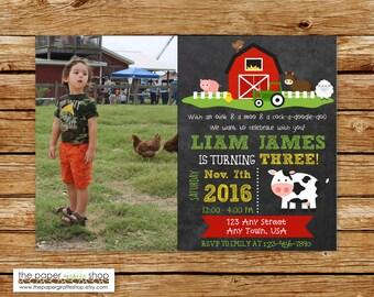 Farm Birthday Invitation   Farm Birthday Party   Farm Party   Birthday Invitation for Boys   Farm Birthday Invites   Barn Invitation