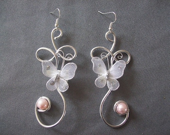 Bridal earrings wedding party White Pearl Butterfly Silver Aluminum wire holidays ceremonies