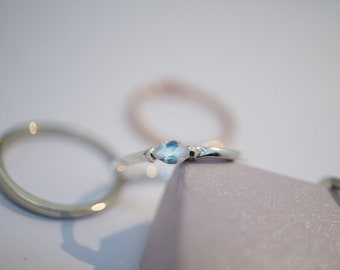 Minimalist silver ring with marquise shaped moonstone