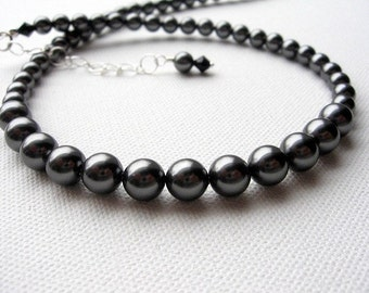Classic Dark Gray Pearl Necklace, Single Strand Swarovski Pearl Bridesmaid Jewelry