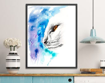 Blue watercolor painting white cat print, cat art home decor, cat poster, animal art, white blue wall art - R73