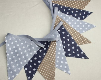 Bunting flag, Fabric Garland, Coffee & gray, Baby nursery decor, Cozy Home Decor, Kids Room Decor, Navy, Grey
