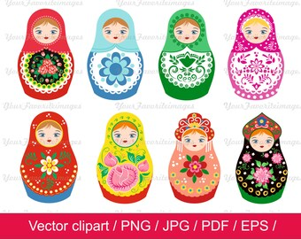 80% Off, Nesting Dolls clip art  / matryoshkas clip art  / Nesting Dolls vector  / for personal and commercial use / ai /  eps / png /  pdf