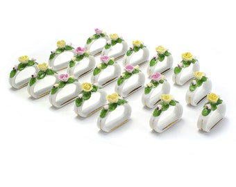 18 Vintage Bone China Flower Place Settings Napkin Rings - Porcelain Cardholders Spring Summer Wedding Yellow Pink Glass Seat Card Marker