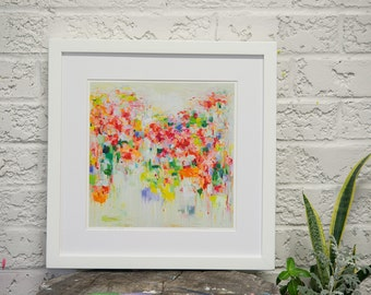Art print-Abstract artwork- Spring garden- Blooming- pink- giclee print - Blooming Time- wall art-wall decor