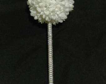 Silver Bling & White Mum Flower Girl Wand Bouquet - Wedding or Quinceanera