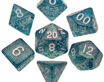 7-Die Set Ethereal: Light Blue/White - MTD212 - Metallic Dice Games