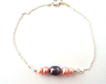 Thin silver bracelet, pink and grey freshwater pearls