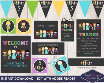 COSTUME PARTY PRINTABLE, Instant download Costume Party Printable, Costume Party, Print yourself Costume Party, Edit with Free Adobe Reader