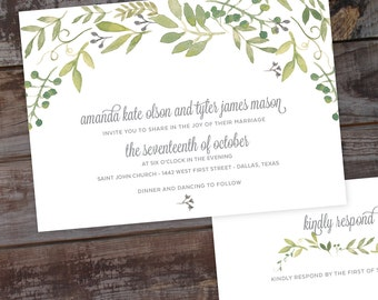 Rustic Greenery Invitations, Garden Wedding Invitation Set, Green Wedding Invitation