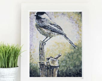 Chickadee Bird - 8x10 Impressionist Painting Art Print - Home Decor Instant Download - Style: Rustic, Woodland, Nature, Cottage Chic, Forest