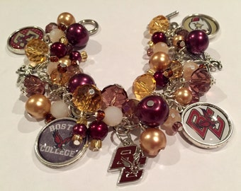 Boston College Charm Bracelet with various Maroon and Gold beads
