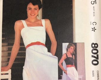 Vintage 80's Sun Dress Sewing Pattern McCall's 8070  Bust 34-38 Size 12-16 Uncut Complete