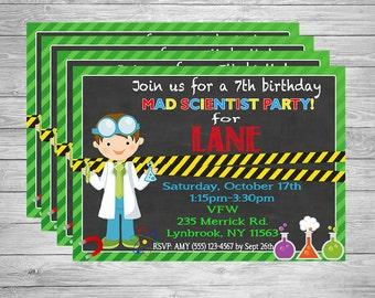 Science invitation - mad scientist invitation - printable invitation
