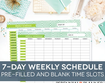 Weekly Schedule Printable 7 Days, Customizable Daily Times Hourly Planner for Moms, Homeschool Planner, Chevron Theme, EDITABLE PDF
