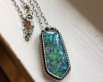 """Cultured Opal sterling silver necklace // 18"""" chain // Handmade // opal jewelry // silver jewelry"""