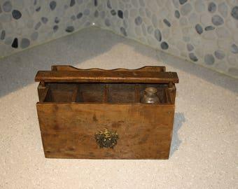 wood napkin and silverware picnic holder box