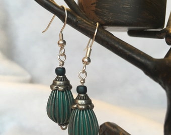 Vintage Style Teal Dangle Earrings, Sterling Silver and Teal Teardrop Earrings, Handmade Earrings, Ready to ship Mother's Day Gift