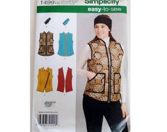 UNCUT Simplicity 1499 Easy to Sew Gilet, Waistcoat, Vests and Headband Sewing Pattern 3 Options 5 Sizes