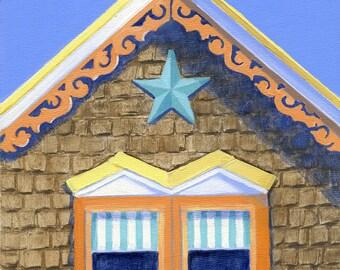 "Martha's Vineyard coastal cottage, Oak Bluffs cottage art print, Victorian gable, yellow and orange,blue star, ""Sunshine Cottage"""