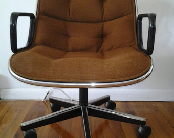 Mid Century Modern Charles Pollock for Knoll Office Chairs in Dark Brown Corduray Upholstery