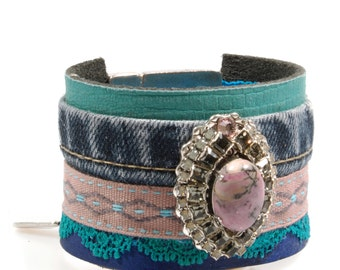 Leather cuff with denim, rhodonite and Swarovski - bracelet Ibiza style, blue, green, pink with concho  - Catena handmade jewelry