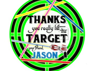 "Custom Laser Tag Thank you Printable Tags- 2.5"" Laser Target Tags- Personalized Laser Tag Party Circle 2.5"" Tags-Digital file-YOU PRINT"