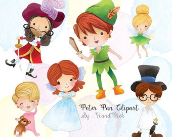 Cute Peter Pan characters clipart : instant download, PNG file - 300 dpi