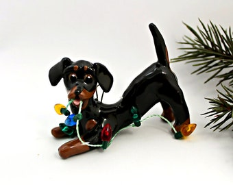 Dachshund Black Tan Porcelain Christmas Ornament Figurine Clay with Lights