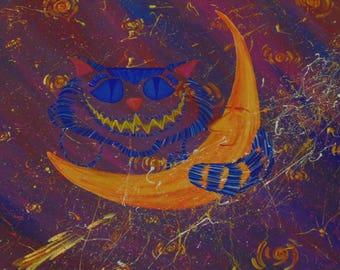 Original OOAK Cheshire Cat on the Moon Painting, Stars, Comets, Smiling Moon, Smiling Cat, Alice in Wonderland, Tim Burton, Splatter, Night