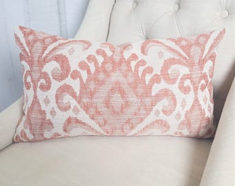 Coral Throw Pillow Ikat Pillow Lumbar Accent Throw Cover 9x20 9x22 9x24 10x20 10x22 10x24 Decorative Pillow 18x18 20x20 22x22 24x24 26x26