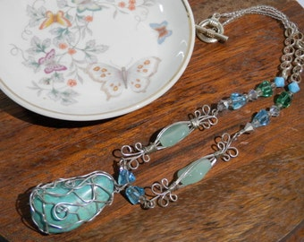 "16"" Avant Garde Necklace Turquoise Nugget Silver Tone Wire Wraped Teardrop Pendant Silvertone Swarovski Crystals Hand Design OOAK Hill Tribe"
