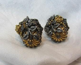 Miriam Haskell Art Nouveau Style Screw Back Earrings
