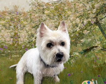 Westie Portrait - Dog Painting - Westie Painting from Your Photo - Portraits-by-NC
