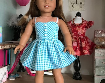 """18 inch ,18"""" doll clothes-  Turquoise and white gingham sundress ."""