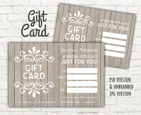 Gift card printable digital gift certificate photoshop gift card printable digital gift certificate photoshop gift card template wood shabby style gift card certificate instant download yadclub Image collections