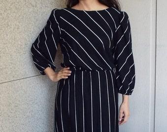 Black striped 80s dress - medium
