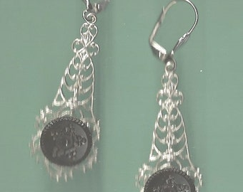 1800s Star Design Black Glass Button Earrings