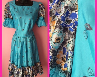 Vintage Square Dancing Blue and Floral Lolita Dress