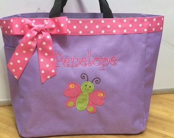 Personalized Girl Butterfly Tote Bag Baby Diaper Bag