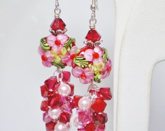 Red and Pink Floral Lampwork Earrings