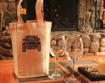 JEEP Tribal Tattoo Cotton Canvas Double Bottle Wine Bag with handles