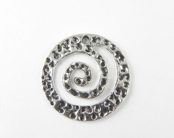 10 Spiral Charms in Antique Silver - Hammered Texture - double sided - 26mm